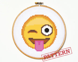 Emoji Tongue Out Winking Smiley Face Cross Stitch Pattern