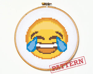 Emoji Tears of Joy Laughing Crying Smiley Face Cross Stitch Pattern