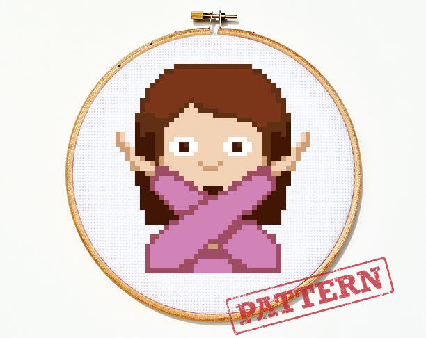 Emoji X Girl Cross Stitch Pattern