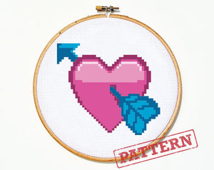 Emoji Heart with Arrow Cross Stitch Pattern