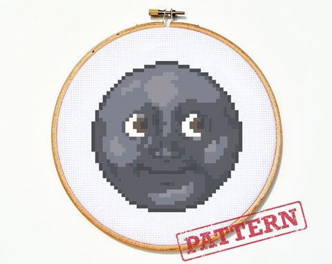 Emoji New Moon With Face Cross Stitch Pattern