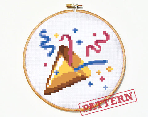 Emoji Celebration Party Popper Cross Stitch Pattern