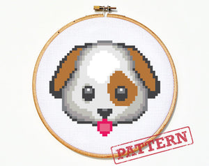 Emoji Dog Cross Stitch Pattern