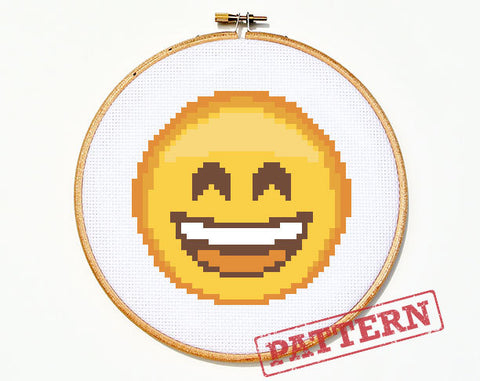 Emoji Smiley Face Cross Stitch Pattern