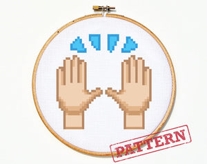Emoji Praise Hands Cross Stitch Pattern
