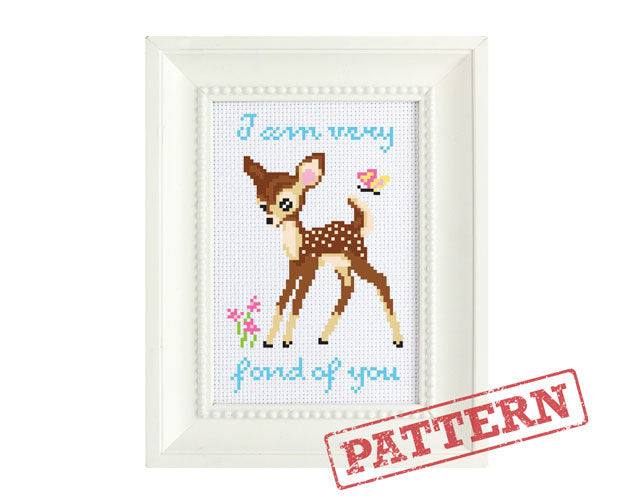 Deer I Am Very Fond of You Fawn Valentine's Day Cross Stitch Pattern