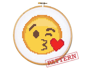 Emoji Kissing Smiley Face Cross Stitch Pattern