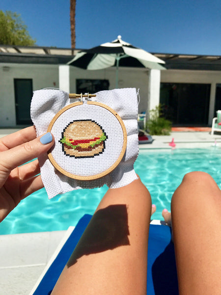 Burger Mini Cross Stitch Kit