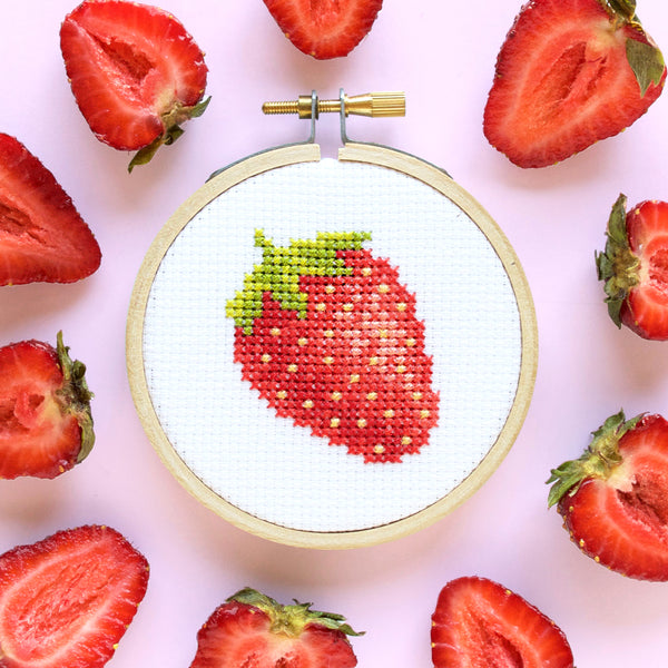 Mini Strawberry Cross Stitch Pattern