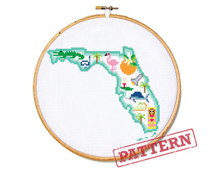 Florida State Map Cross Stitch Pattern