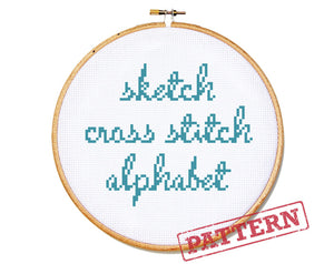 Sketch Font Alphabet Cross Stitch Pattern
