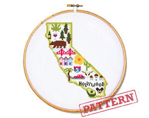 California Map Cross Stitch Pattern