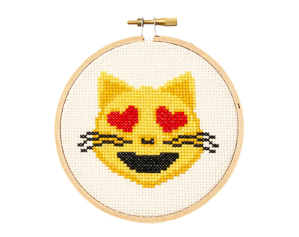 Emoji Cat with Heart Eyes Cross Stitch Kit