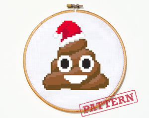 Emoji Christmas Poo Cross Stitch Pattern