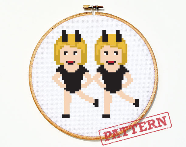 Emoji Dancing Girls Cross Stitch Pattern