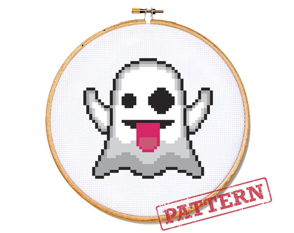 Emoji Ghost Cross Stitch Pattern
