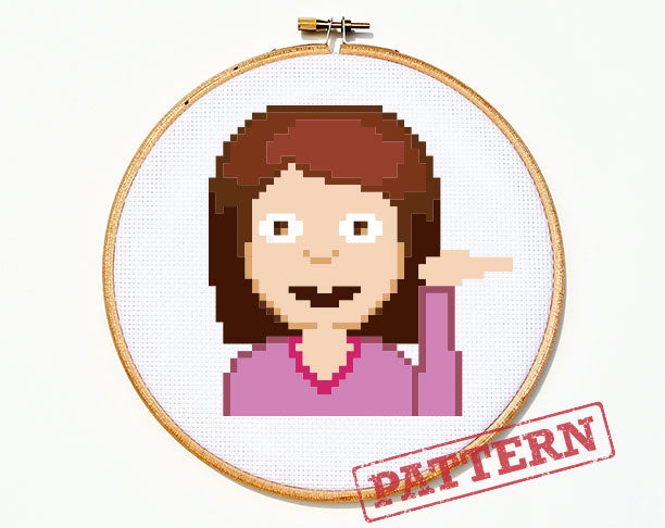 Emoji Information Girl Cross Stitch Pattern