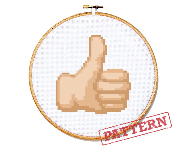 Emoji Thumbs Up Cross Stitch Pattern