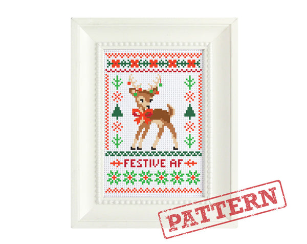 Festive AF Deer Cross Stitch Pattern