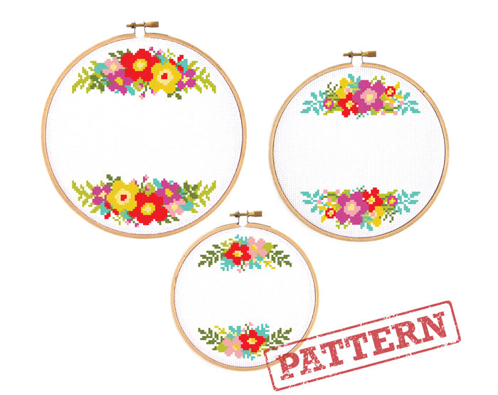 Floral Ornament Borders Set of 3 Cross Stitch Patterns