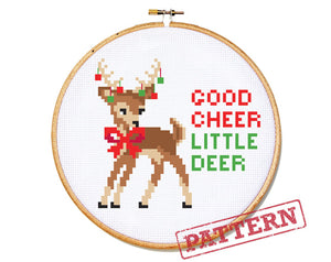 Good Cheer Little Deer Cross Stitch Pattern