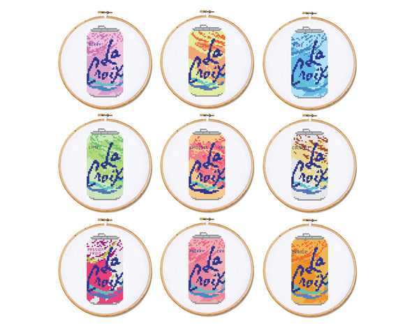 La Croix Can Peach Pear Cross Stitch Pattern