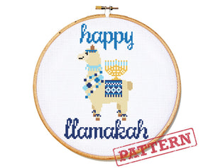 Happy Llamakah Cross Stitch Pattern