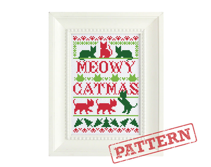 Meowy Catmas Cross Stitch Pattern