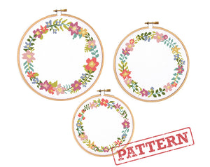 Modern Floral Borders Set of 3 Cross Stitch Patterns