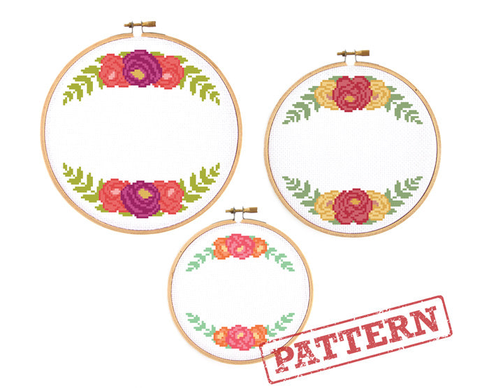 Rose Floral Borders Set of 3 Cross Stitch Patterns