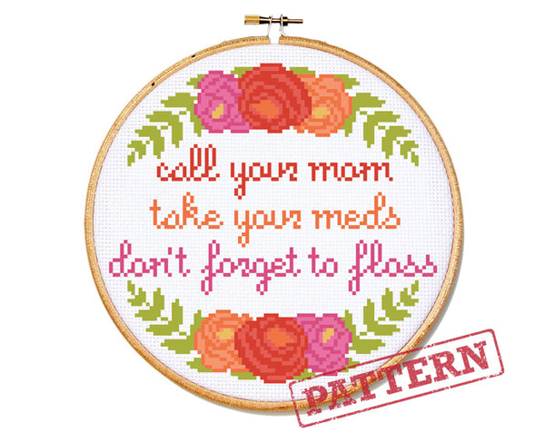 Self-Care Cross Stitch Pattern