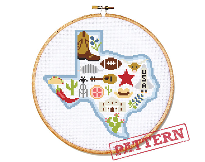 Texas Map Cross Stitch Pattern