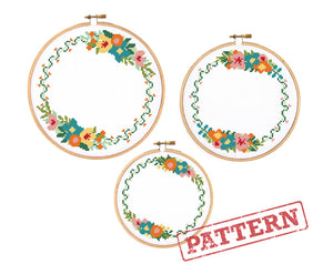 Vine Floral Borders Set of 3 Cross Stitch Patterns