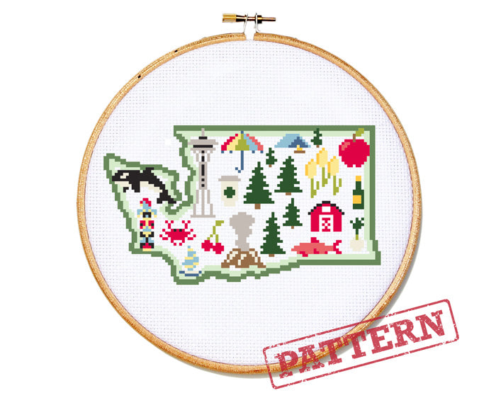 Washington State Map Cross Stitch Pattern