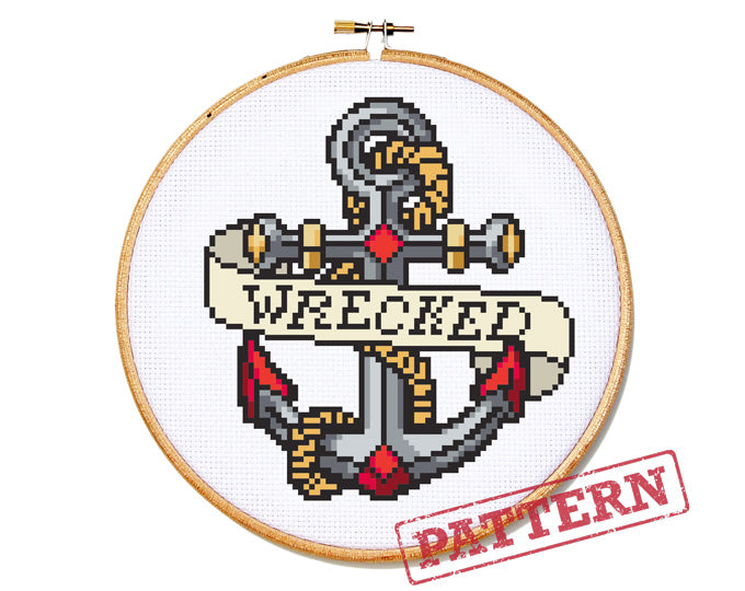 Anchor Tattoo Wrecked Cross Stitch Pattern