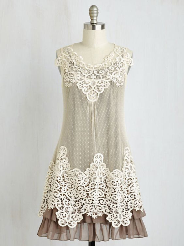 Women Brown Floral Lace Sweet Dresses
