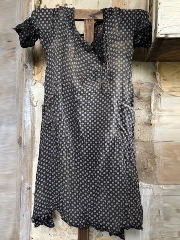 3/4 Sleeve V Neck Polka Dots Dresses