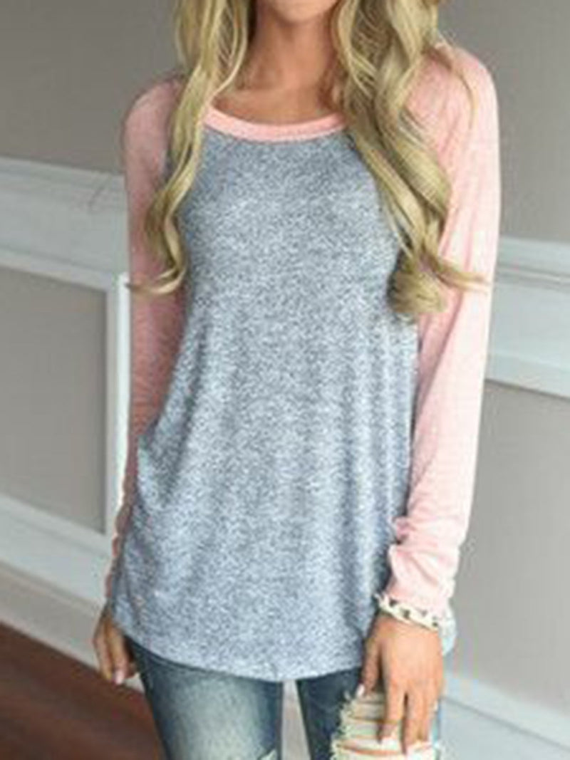 Long Sleeve Cotton Crew Neck Color-Block Tops