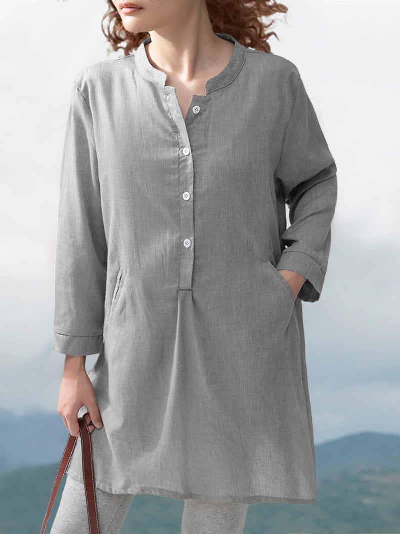 3/4 Sleeves Vintage Women V-Neck Linen Shirt