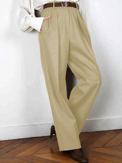 Khaki Plain Cotton-Blend Vintage Pants