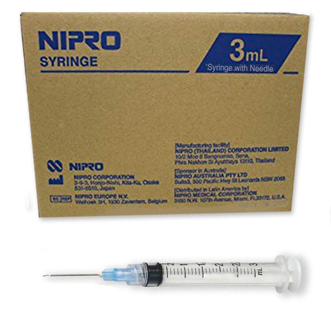 "3cc (3ml)  22 G x 1.5""  Syringe with Needle (50pk)"