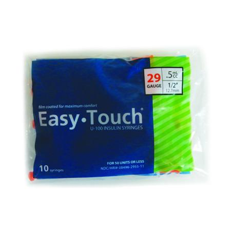 10 Pack Bag (10 Syringes) - EASYTOUCH 1/2CC, 29 GAUGE x 1/2""