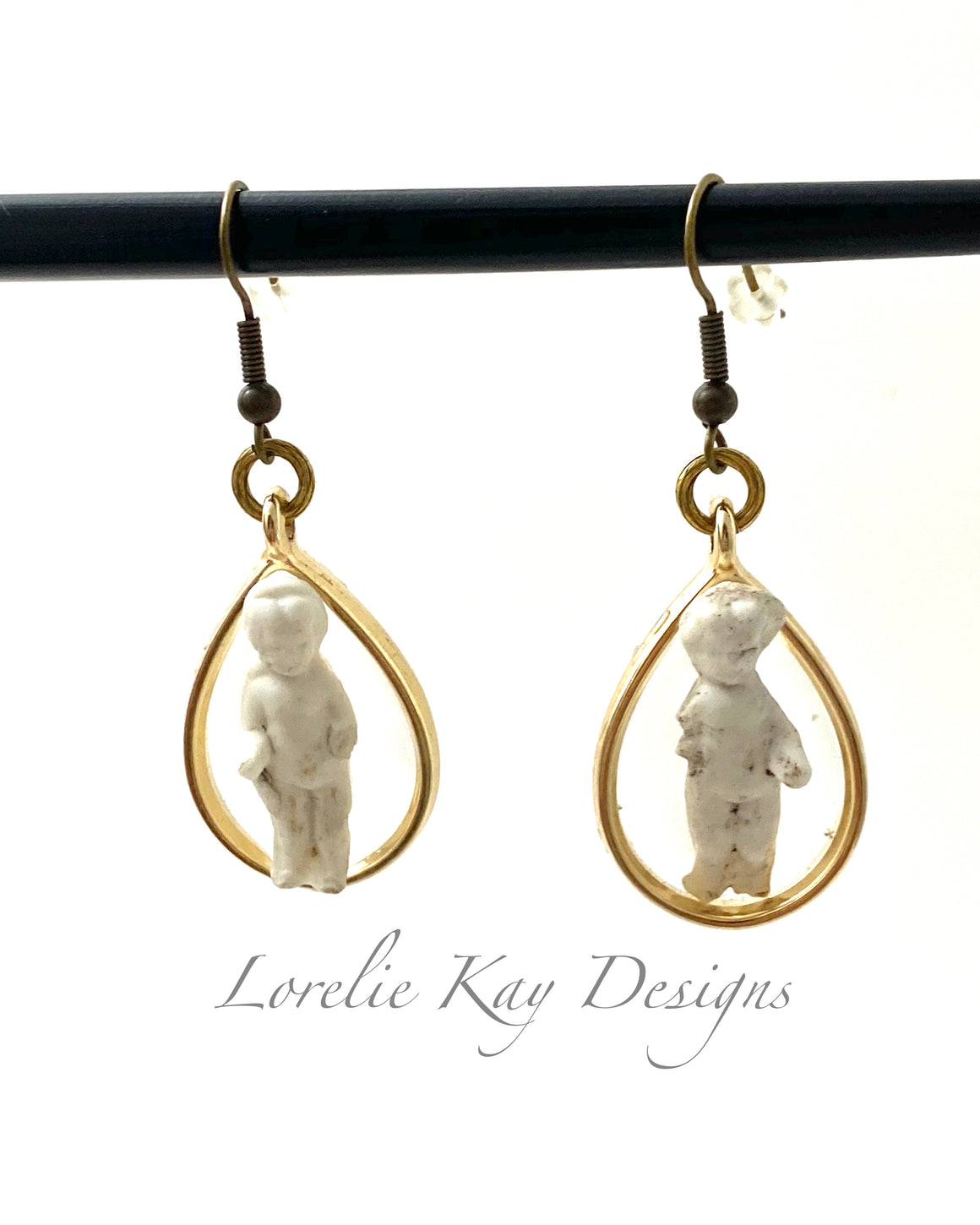 Frozen Charlotte Doll Earrings Cast Resin Teardrop Dangles