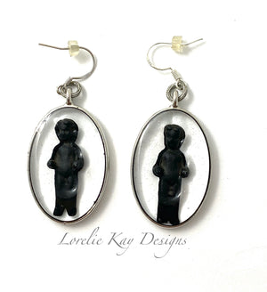 Frozen Charlotte Black Doll Earrings Oval Cast Resin Dangles