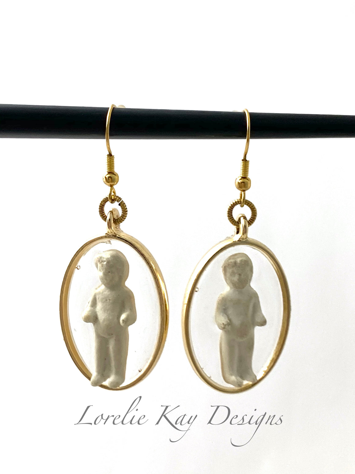 Frozen Charlotte Doll Earrings Oval Cast Resin Gold Plate