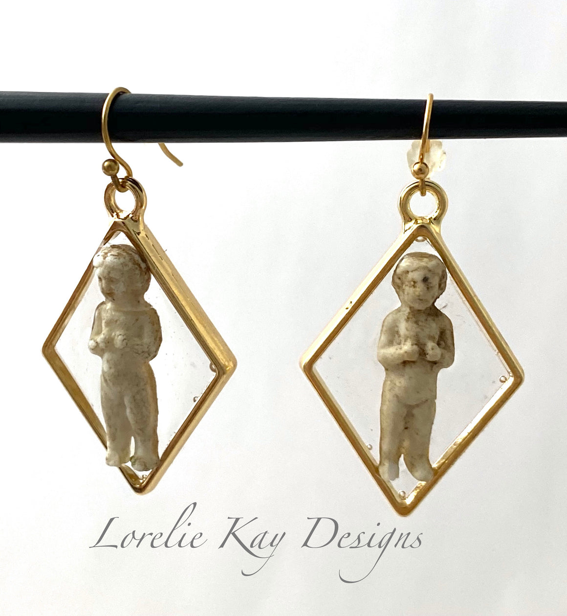 Frozen Charlotte Doll Earrings Triangle Gold Plate Drop Earrings