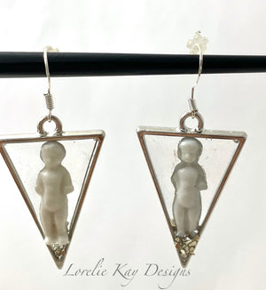 Frozen Charlotte Doll Earrings Triangle Cast Resin Silver Plate Dangles