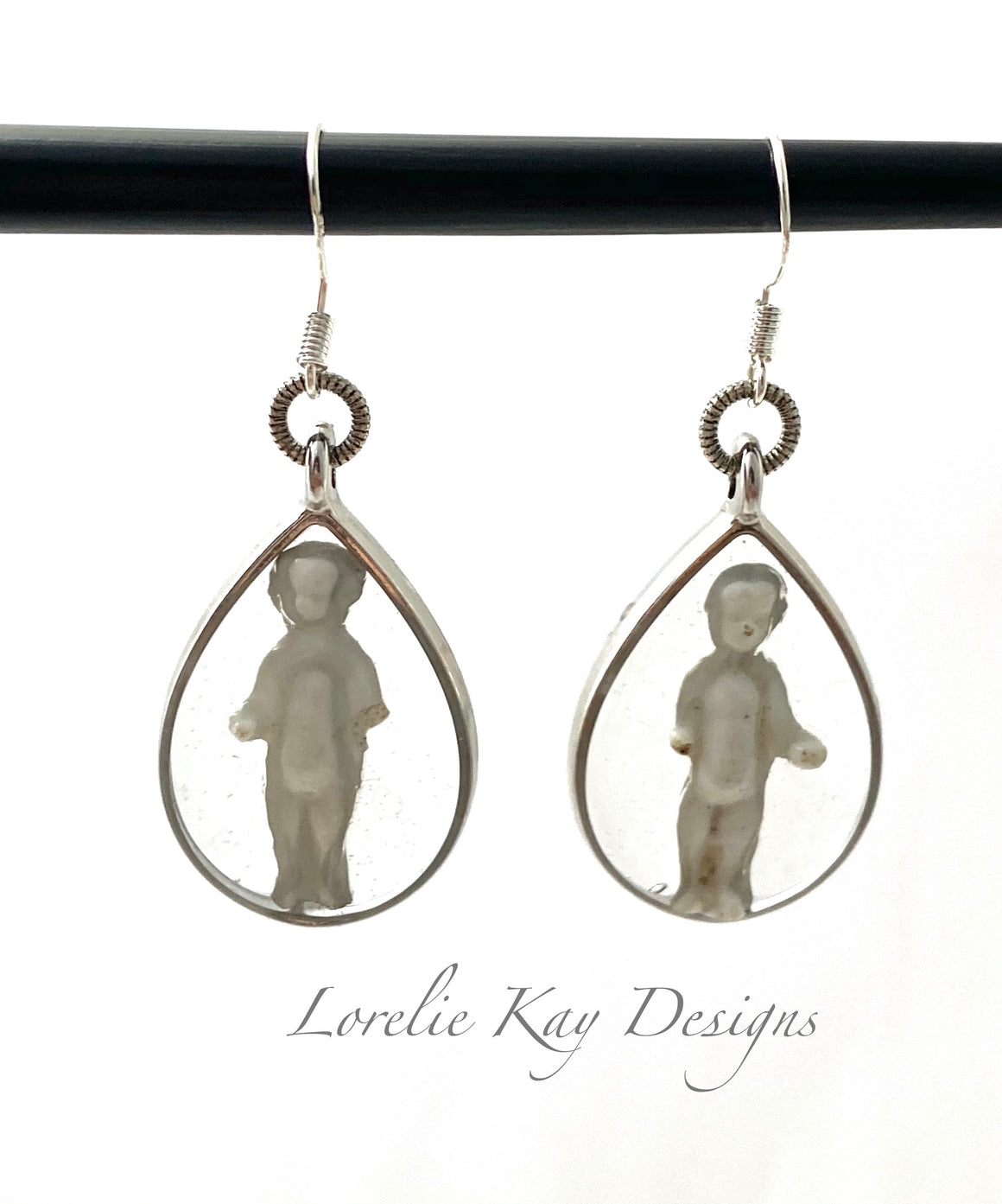 Frozen Charlotte Doll Earrings Sterling Plate Dangles
