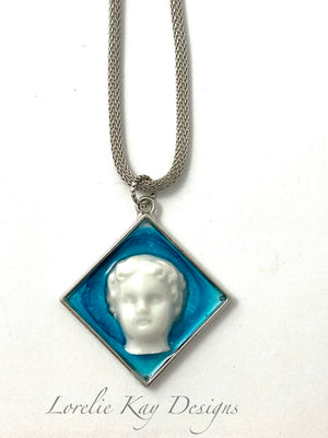 Frozen Charlotte Doll Head Necklace Cast Resin & Silver Plate