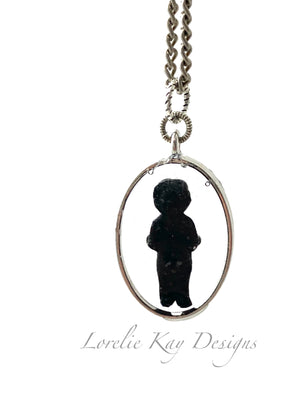 Frozen Charlotte Doll Necklace Antique Black Doll Cast Resin Pendant
